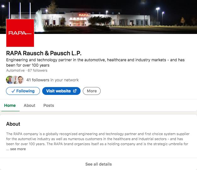NEU: Unser Tochterunternehmen in den USA ist jetzt auch bei LinkedIn
